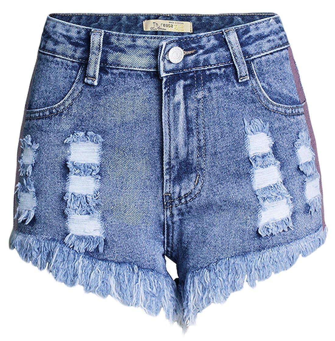 chouyatou Womens High-Waist Contrast Stripe Fringe Ripped Denim Shorts