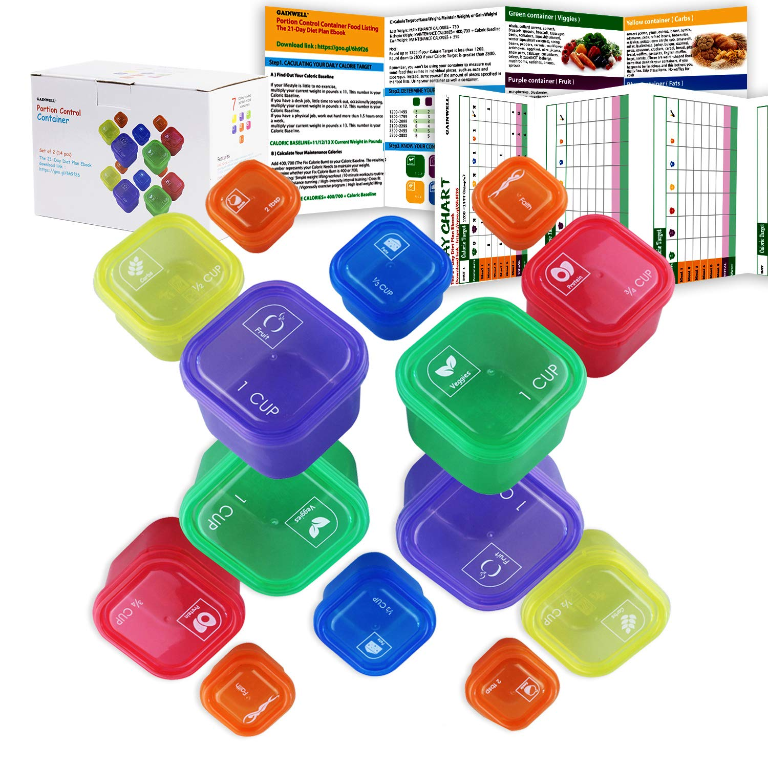7 Piece Portion Control Container Set for Weight Loss - Portion Control Kit for Diet Meal Preparation - Comparable to 21 Day Fix - GAINWELL 0010