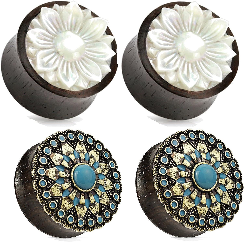 Pair of Organic Wood Plugs Ear Gauges Mother of Pearl Lotus Flower 00g 1//2 5//8