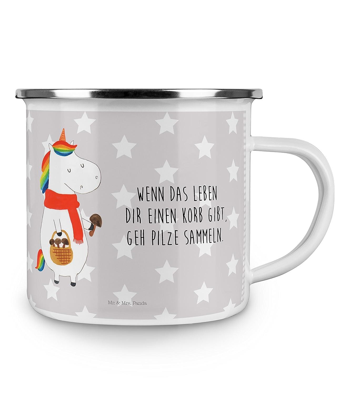 Mr Panda Deko-Becher Kaffeetasse /& Mrs Camping Emaille Tasse Einhorn Pilz mit Spruch Farbe Grau Pastell