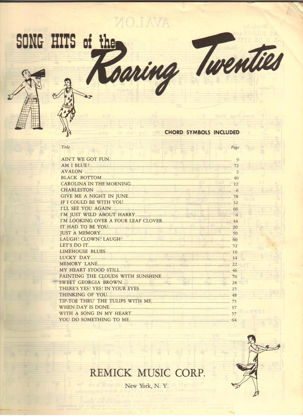 Song Hits Of The Roaring Twenties Book 1 Amazon Com Books