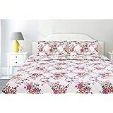 haus & kinder Greek Garden Romance 100% Cotton Double Bedsheet King Size 144 TC (Orange)