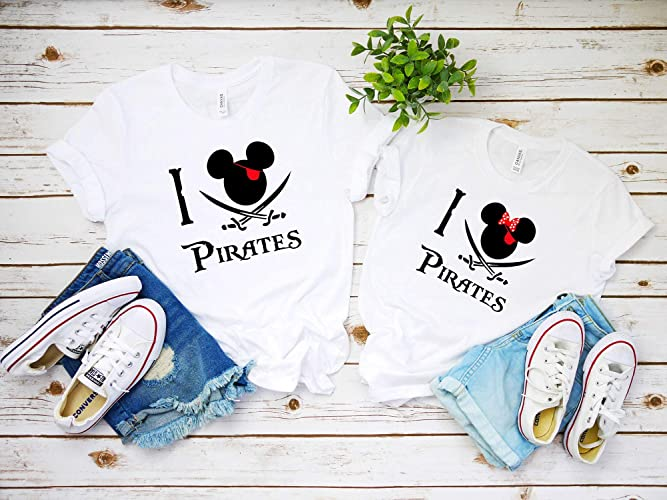 779f92600 Amazon.com: I love Pirates Shirt matching disney shirts disney 2019 family  shirts pirates of the Caribbean pirate night Disney cruise D12: Handmade