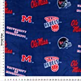 College University of Mississippi Ole Miss Rebels 035 Print Fleece Fabric By the Yard