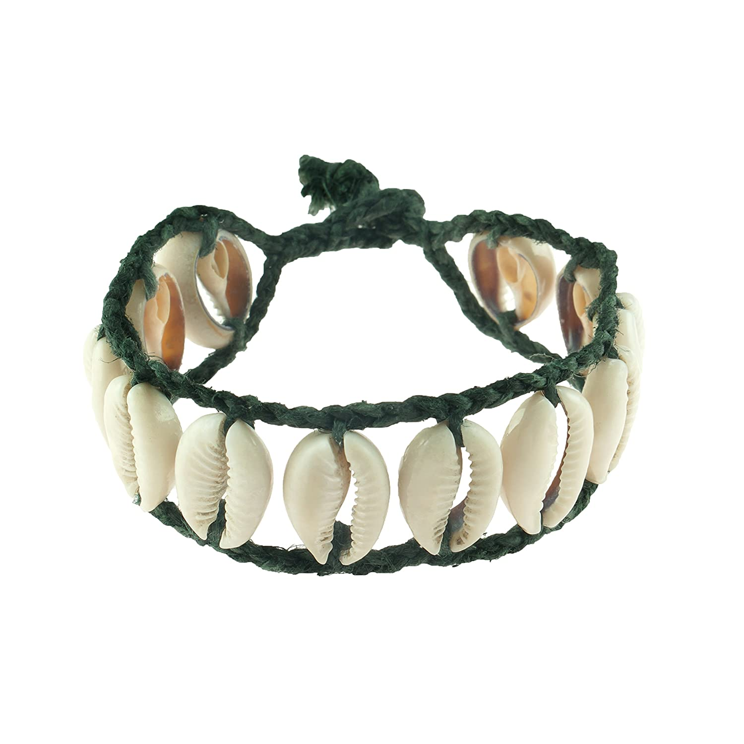 Cowrie Shells Ladder on Braided Black Waxed Cotton Cord Anklet Bracelet BlueRica BRHLCBK8