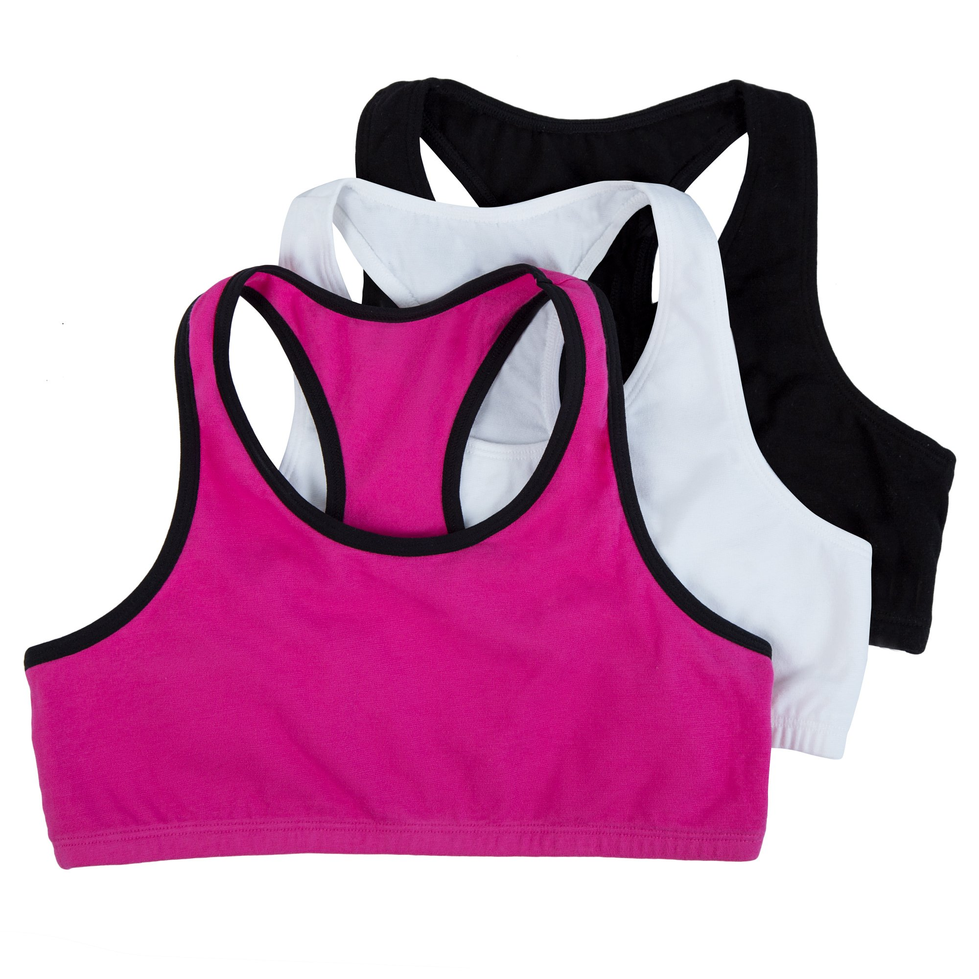 Fruit of the Loom Big Girl's Cotton Built-up Sport 3 Pack(Pack of 3) Bra, Passion Fruit with Black/White/Black, 36 by Fruit of the Loom