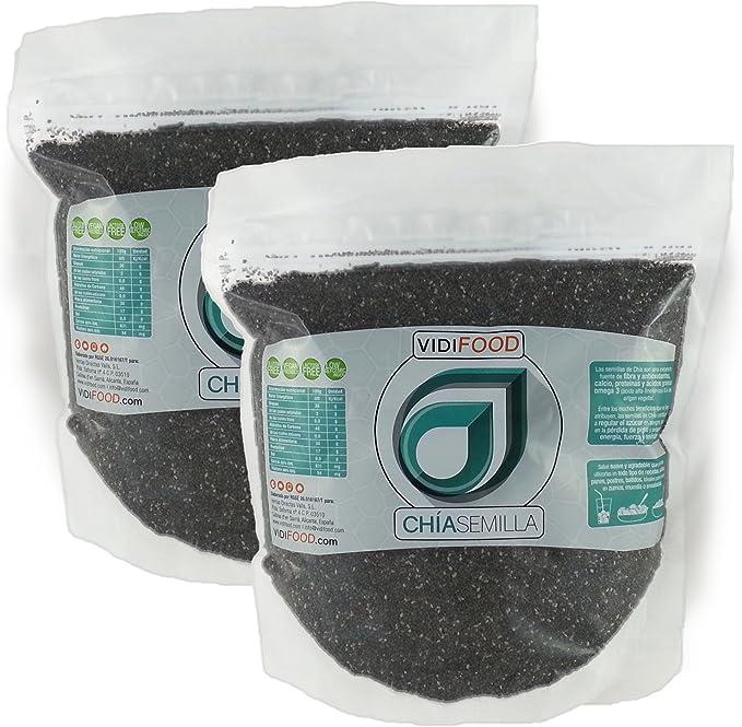 Semillas de Chía Naturales - 2kg - Fuente Rica de Omega-3, Fibra y Proteínas - Completamente Natural, Sin Toxinas - Adecuado para Veganos.