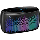 SOAIY S52 Smart Touch 11 Optional LED Light Modes Bluetooth Speaker, 10W Portable Wireless Speaker, Super Bass, 2000mAh Long Battery Life, Support Micro-SD Card and Handsfree Calling (Black)