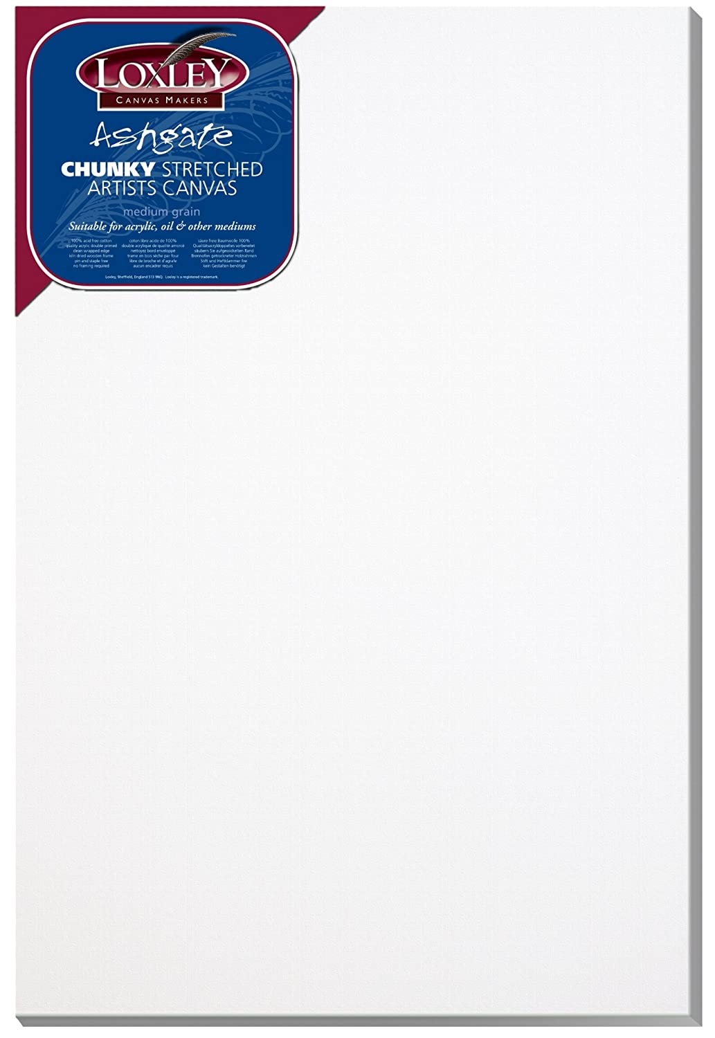 Loxley 36 x 24-inch Deep 36 mm Edge Ashgate Chunky Stretched Artists Canvas, White Colourfull Arts ACC-3624