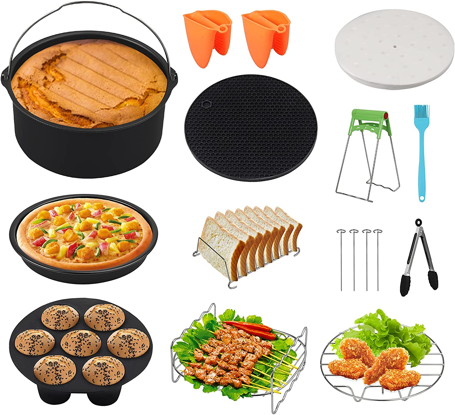 eSynic 17 Pcs Air Fryer Accessories Set 7 Inch Air Fryer Accessories Set Power Air Fryer Accessory Kit Fits 3.2QT-7.2QT for Phillips Gowise with Cake Pan, Pizza Pan, Cupcake Pan, Grill Rack ect
