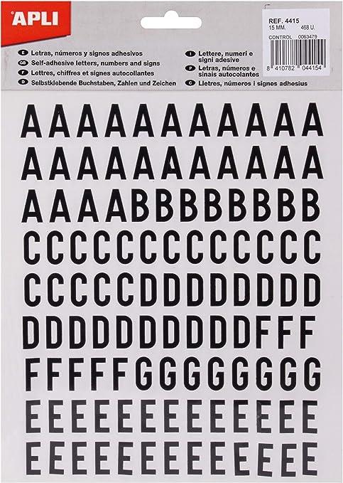 Amazon.com: APLI 4415 - Pegatinas (lote de letras, números ...