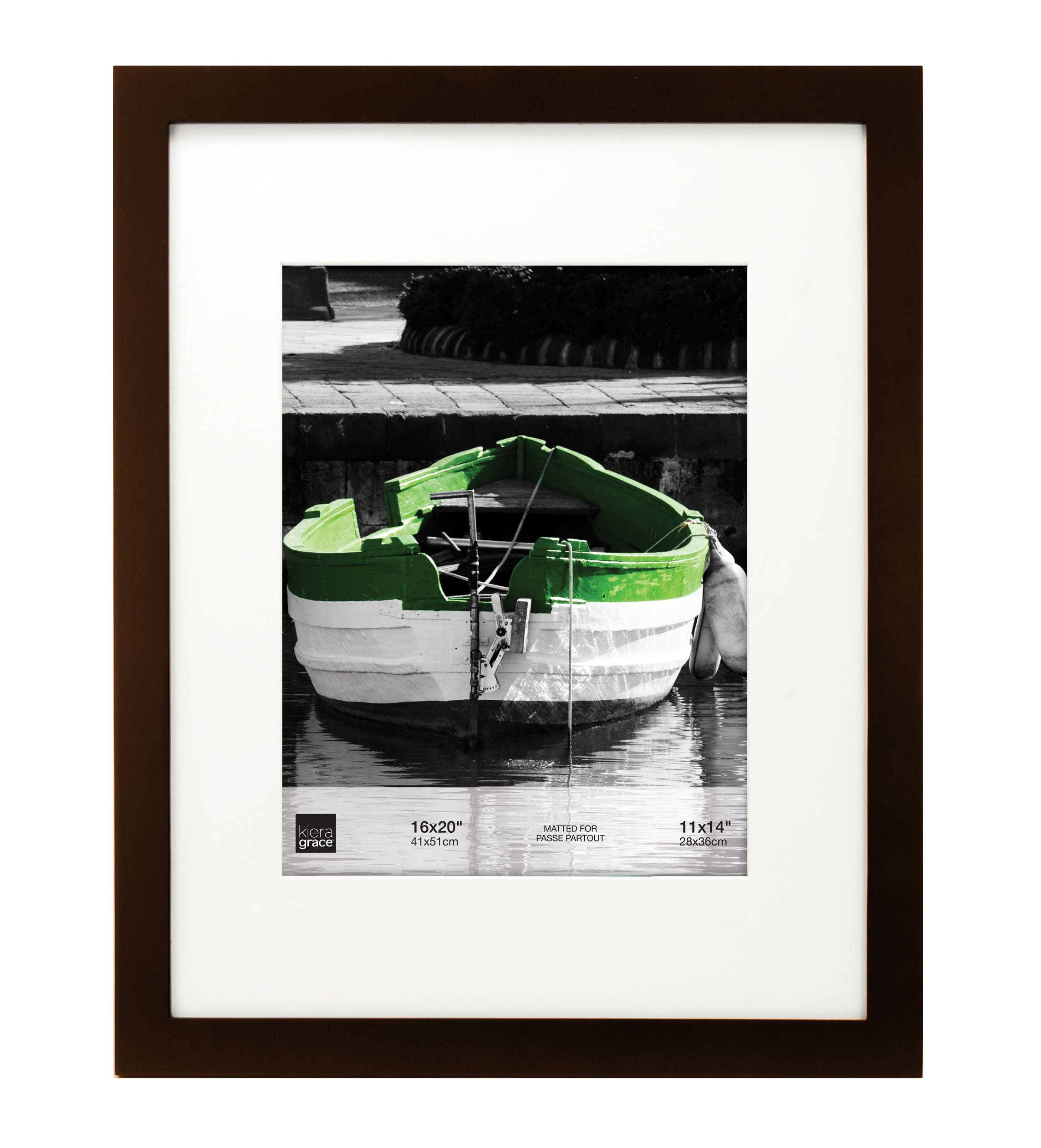 kieragrace Langford Wood Picture Frame, 16 by 20 Inch Matted for 11 by 14 Inch Photo, Espresso