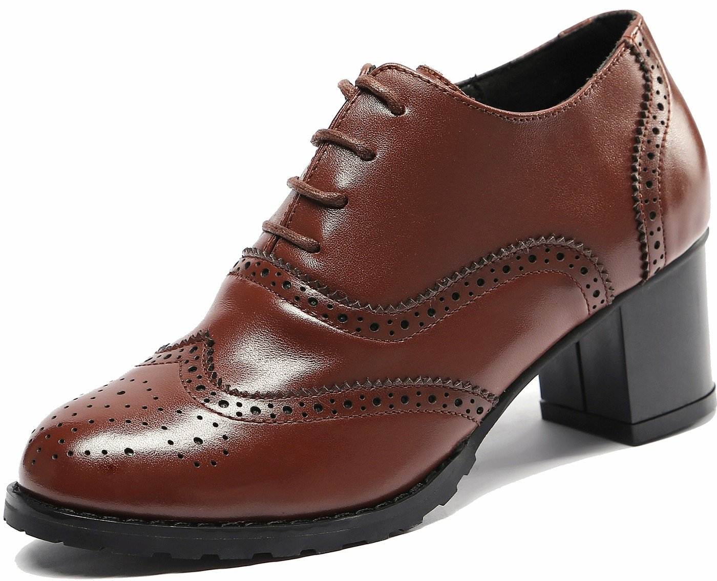 U-lite Women's Brown Perforated Lace-up Wingtip Leather Pump Oxfords Vintage Oxford Shoe Brown 7