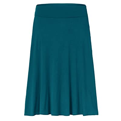 Amie Finery Knee Length Midi Skirt A Line Flared Swing Fold Over Skirt For Women Made In USA Medium Coral Blue