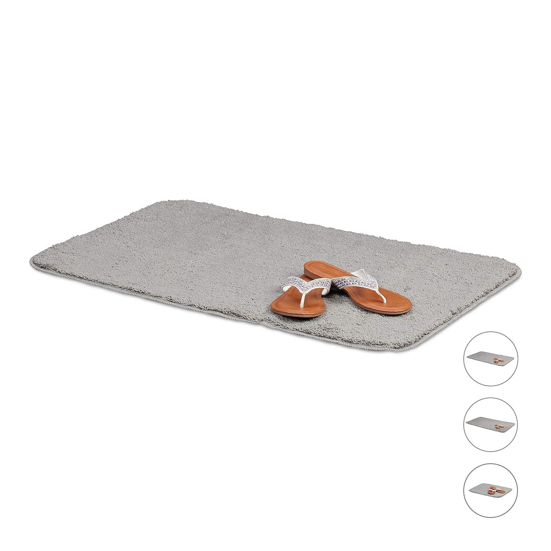 Tappetino per Vasca e Doccia Antiscivolo /& Lavabile Grigio Relaxdays Tappeto da Bagno 40x50 cm Poliestere Morbido