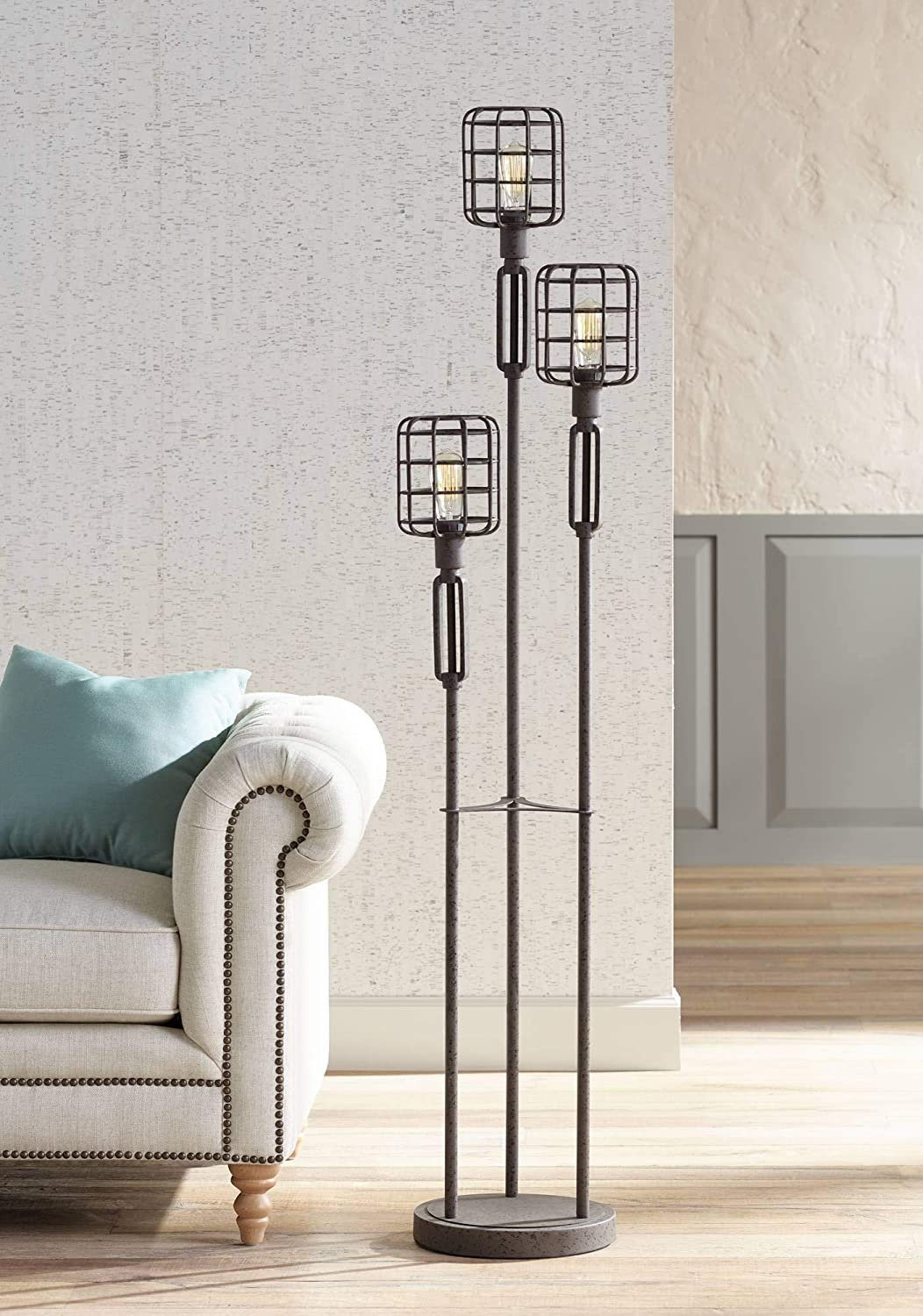 Modern Industrial Floor Lamp Rustic Metal Cage Dimmable 3-Light LED Edison Bulbs for Living Room Bedroom – Franklin Iron Works