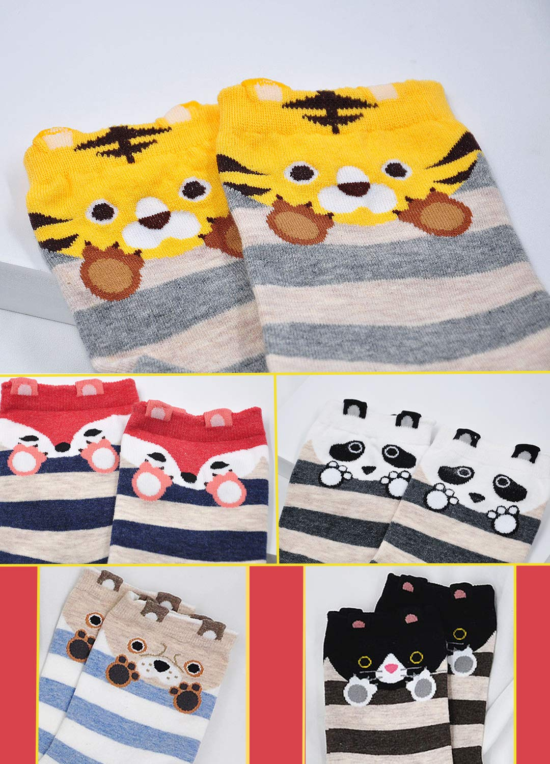 Women Fuzzy Socks Cotton Crazy Crew Funny Cute Novelty Animal Casual Ankle Christmas Socks for Girls Gift 5 Pairs