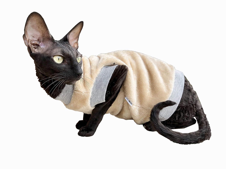 Kotomoda Katzen Kleidung Pullover Biege Manteau
