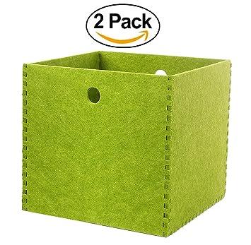 Storage Baskets 12x12 Shelf Basket, 2 Pack Felt Cubes Bins For Laundry,  Magazine,