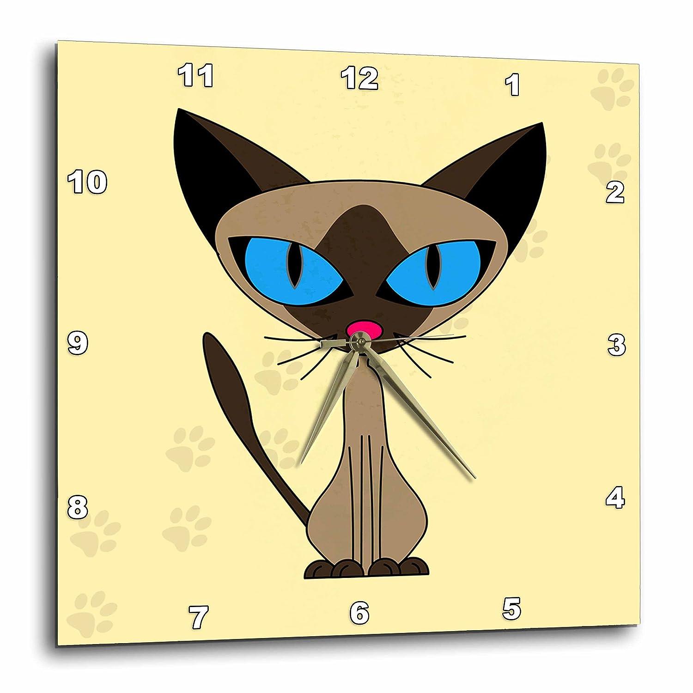 3dRose Janna Salak Designs Cats 10x10 Wall Clock dpp/_6168/_1 Cute Siamese Cat Paw Prints Design