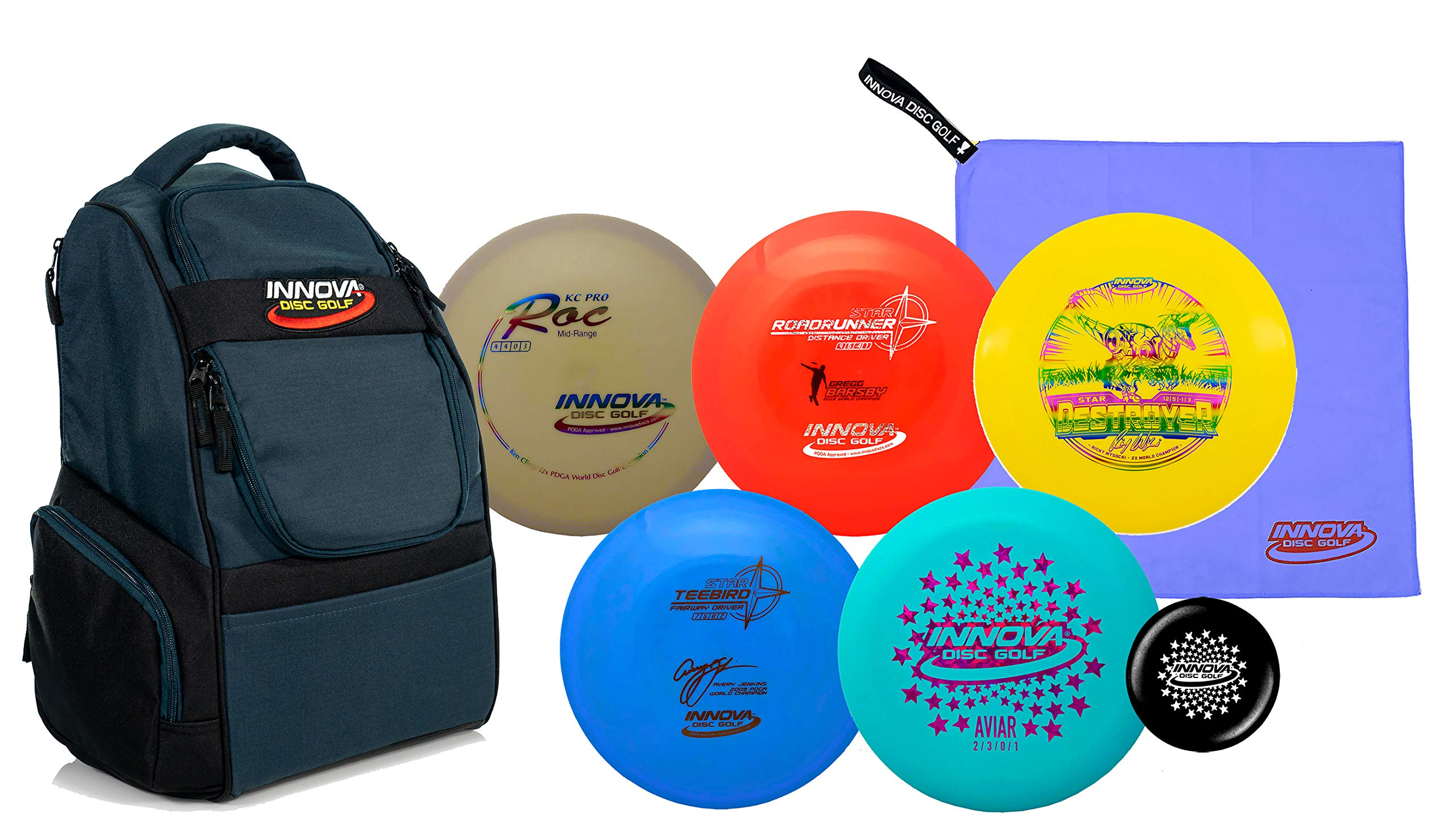 Innova Disc Golf Set with 5 World Champion Discs and Adventure Disc Golf Backpack - Drivers, Mid-Range, Putter, Towel and Mini Marker Disc - Upgrade Your Game by Innova Disc