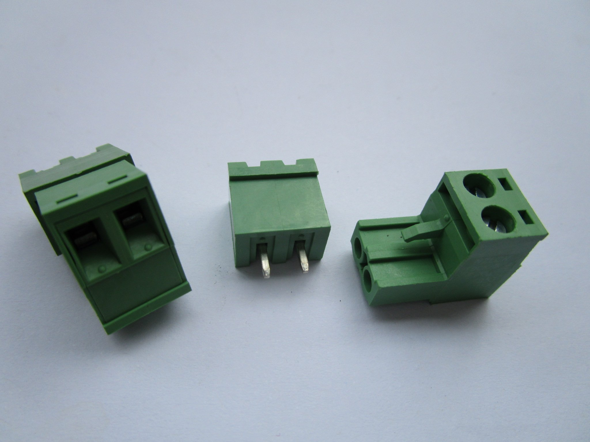 400 Pcs Close Straight 2 Pin/way Pitch 5.08mm Screw Terminal Block Connector Green Color Pluggable Type with Straight Pin