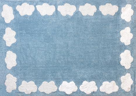 Tappeti Per Bambini Lavabili In Lavatrice : Aratextil nuvola tappeto per bambini cotone celeste