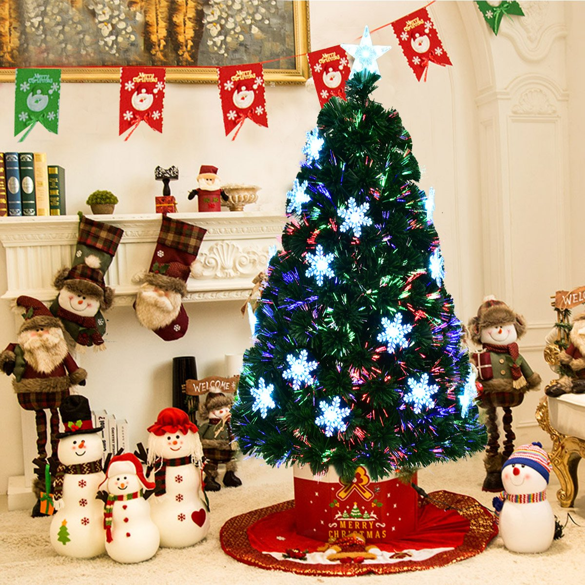 1e5d50ccd0e3 GYMAX 4FT 5FT 6FT 7FT Fiber Optic Christmas Tree 4 FT/ 120 CM Green Artificial  Xmas Tree with Flashing Light Top Star ...