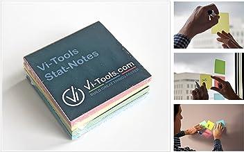 Stat-Notes von Vi-Tools – farbige statische magic Haftnotizen 9 x 9 cm – 400 Stück – beidseitig haftend und beschreibbar, Rückseite abwischbar