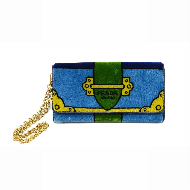 プラダ PRADA ベルヴェット チェーンウォレット 二つ折 長財布 ライトブルー ブルー グリーン イエロー 水色 青 緑 黄 ゴールド金具 中古 B07FD4YCCJ