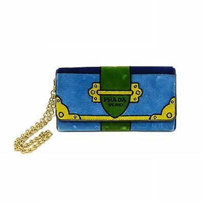 361d357aadb3 プラダ PRADA ベルヴェット チェーンウォレット 二つ折 長財布 ライトブルー ブルー グリーン イエロー 水色 青