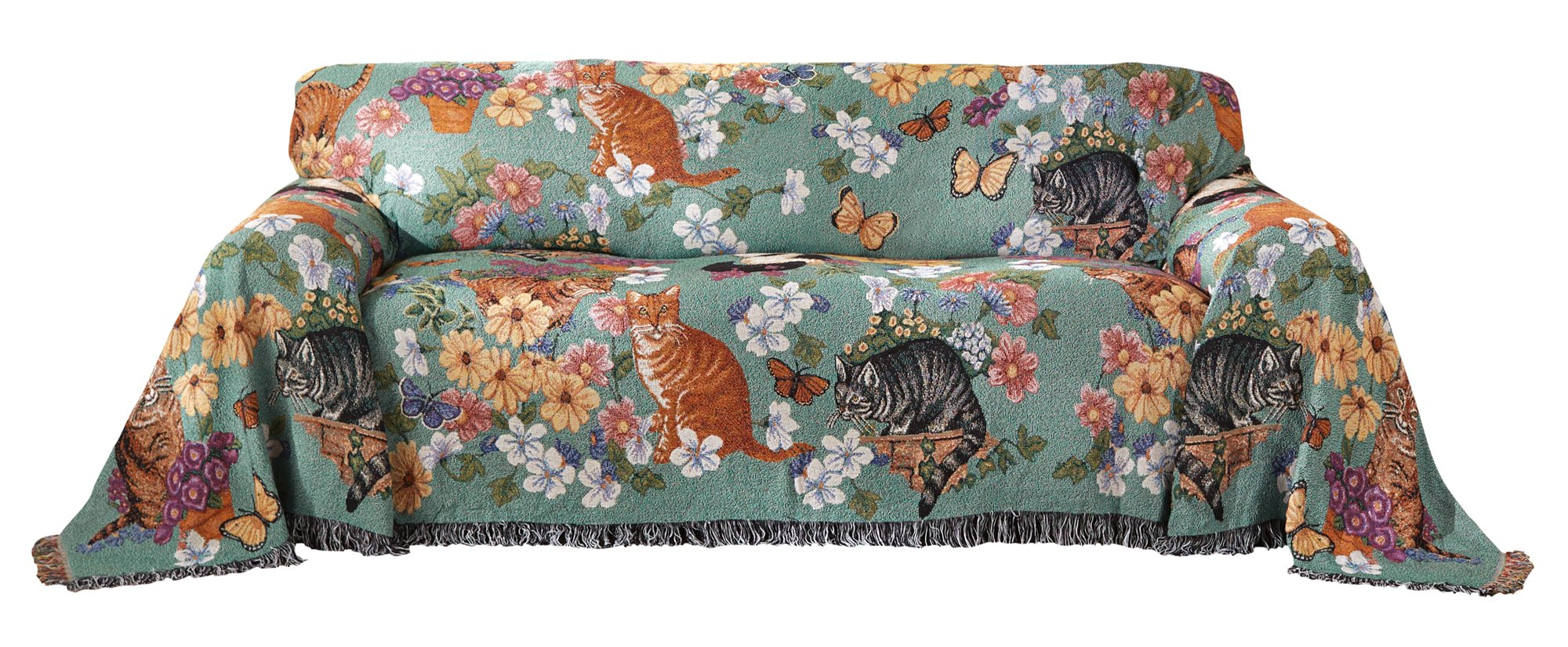 Furniture Cover - Sofa or Couch Furniture Protector, Soft Woven Fabric, Cat Themed Sofa Cover Shield Protects Fabric from Pet Stains and Every Day Wear
