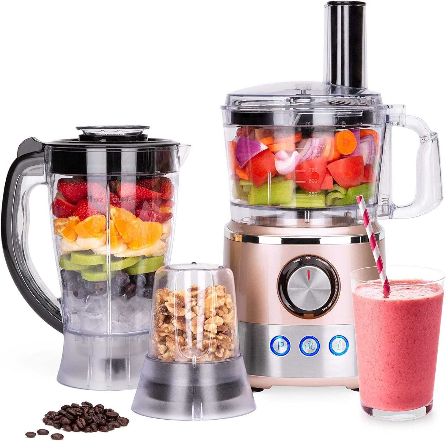 Best Choice Products 650W Multifunctional All-In-One Stainless Steel Food Processor, Blender, Grinder Combo w 7.4-Cup Capacity, 10 Attachments for Juicing, Cutting, Shredding, More, Rose Gold