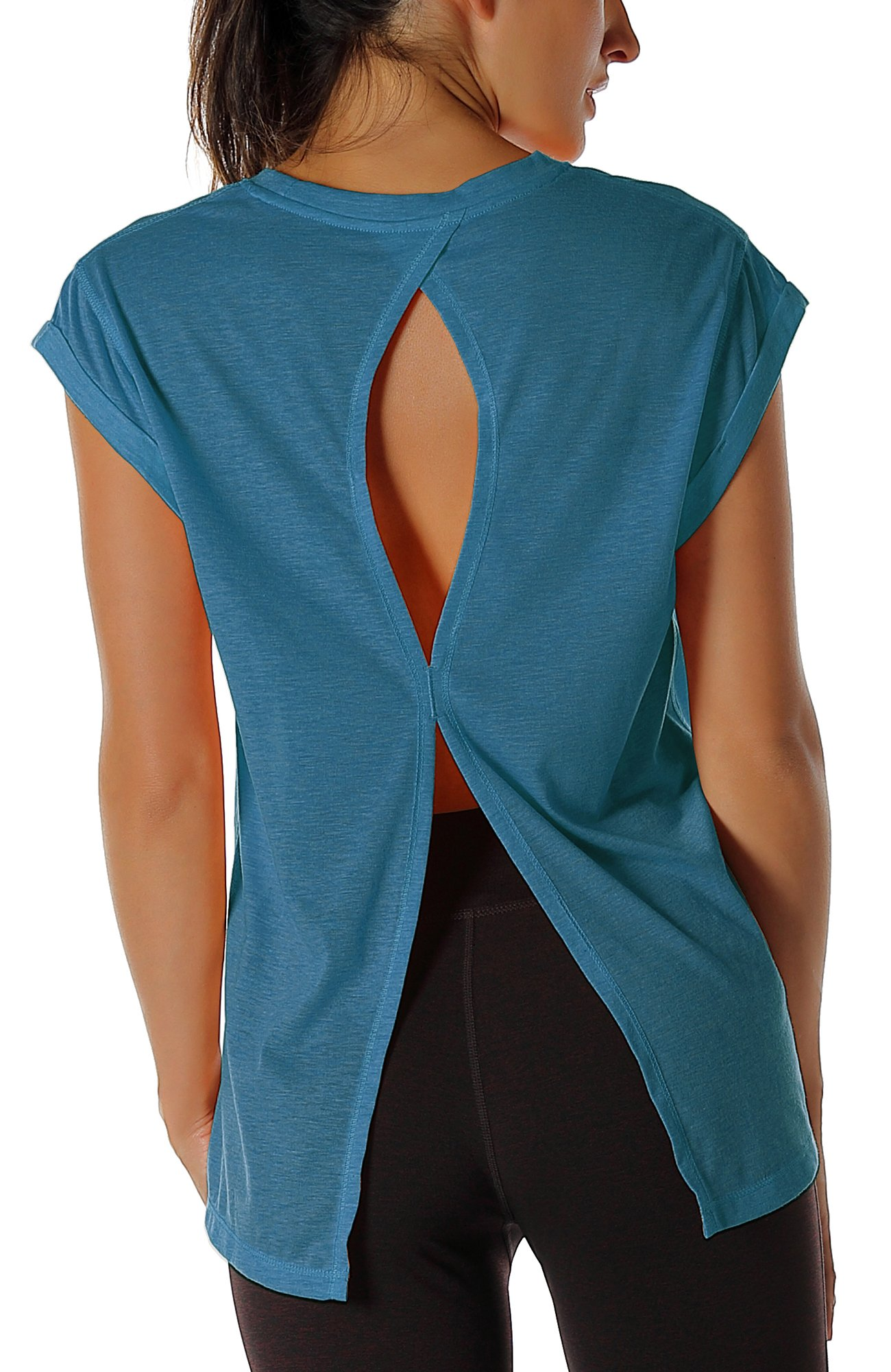 icyzone Open Back Workout Top Shirts - Yoga t-Shirts Activewear Exercise Tops For Women (M, Denim)