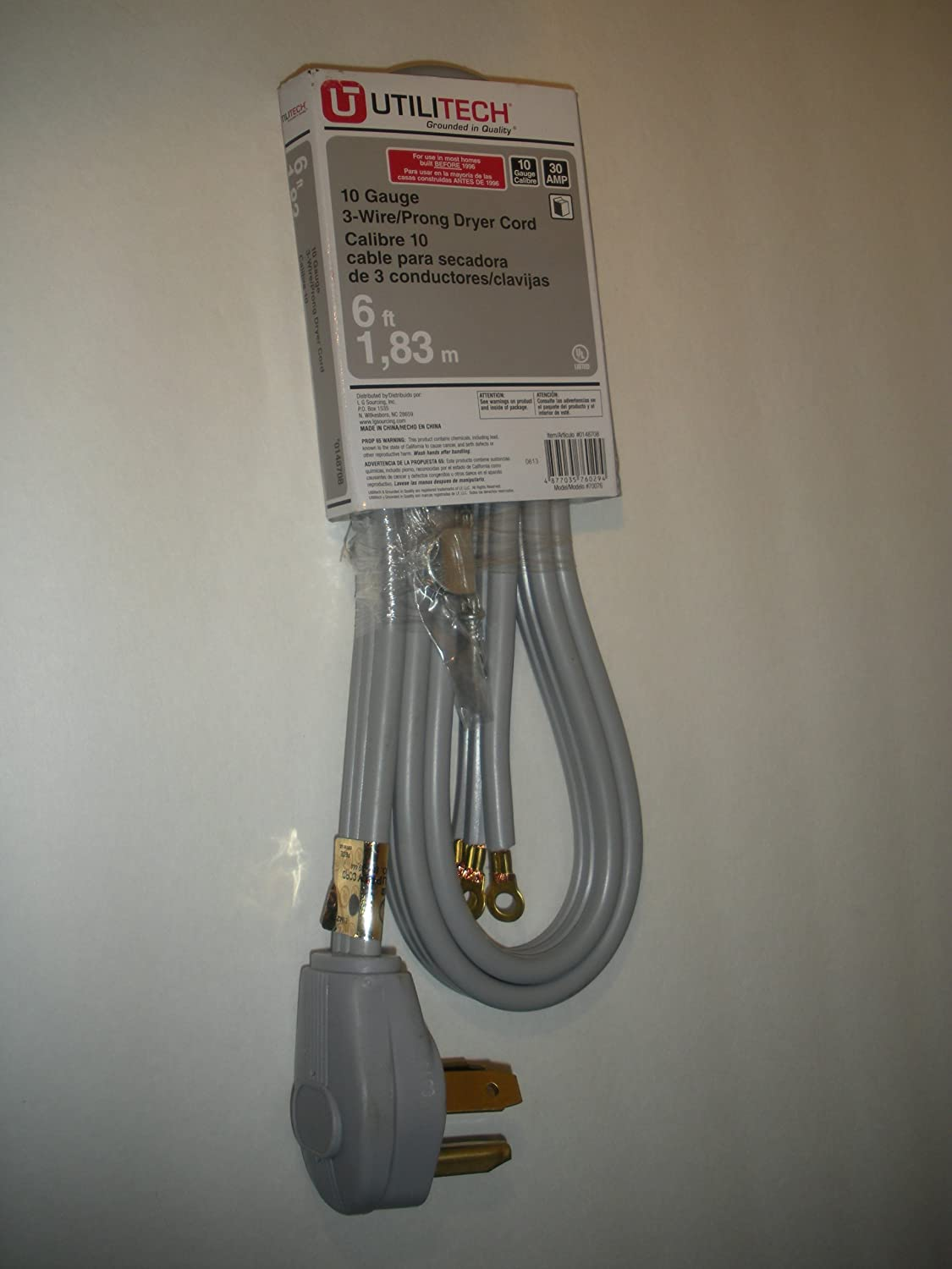 Amazon com : UtiliTech 3-Wire/Prong Dryer Cord : Everything Else