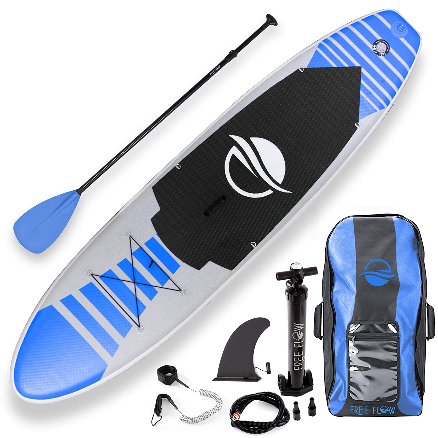 SereneLife Premium Inflatable Stand Up Paddle Board 6 Inches Thick with SUP Accessories Carry Bag | Wide Stance Bottom Fin for Paddling Surf Control Non Slip Deck | Youth Adult Standing Boat