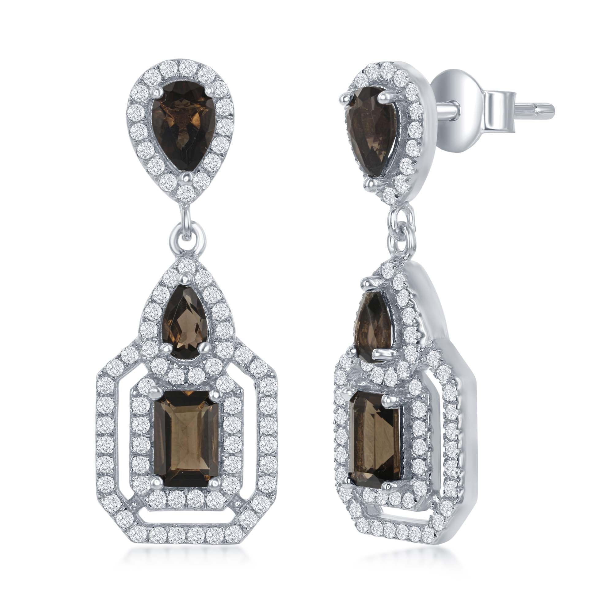 Sterling Silver High Polish Smoky Quartz Prong-Set with White Topaz Hexagon Border Earrings
