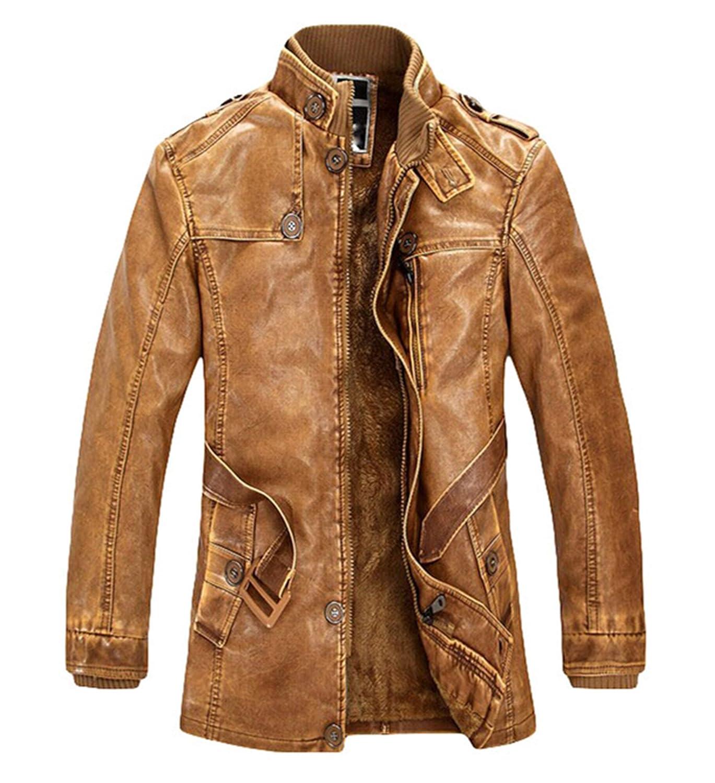Autumn and winter men's fashion plus velvet washed leather jacket PU leather jacket Coat