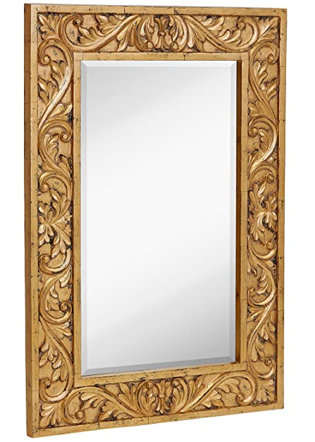 Hamilton Hills Large Gold Antique Inlay Baroque Styled Framed Mirror | Aged Elegant Rectangular Glass Wall Mirror | Vanity, Bedroom, or Bathroom | Hangs Horizontal or Vertical | 24