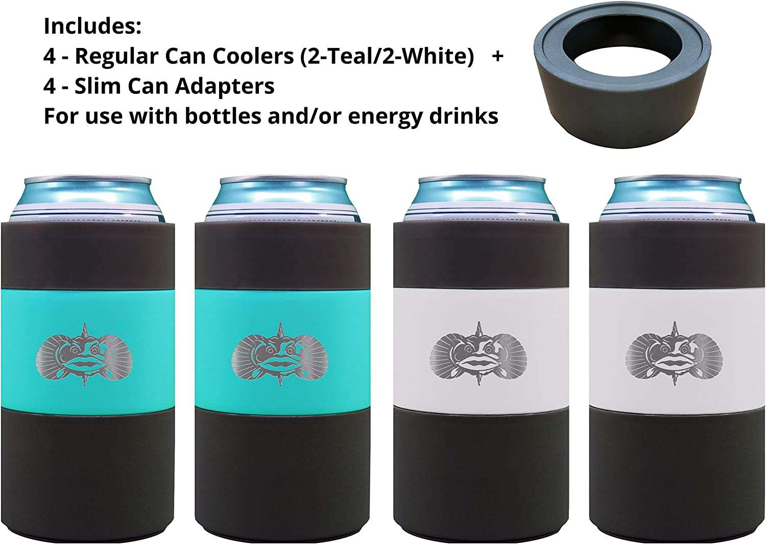 Toadfish Can Cooler - Non-Tipping Suction Cup Can Cooler - Double Wall Vacuum Insulation Insulated Can Cooler Designed to Stay Upright and Not Spill - Stainless Steel Construction