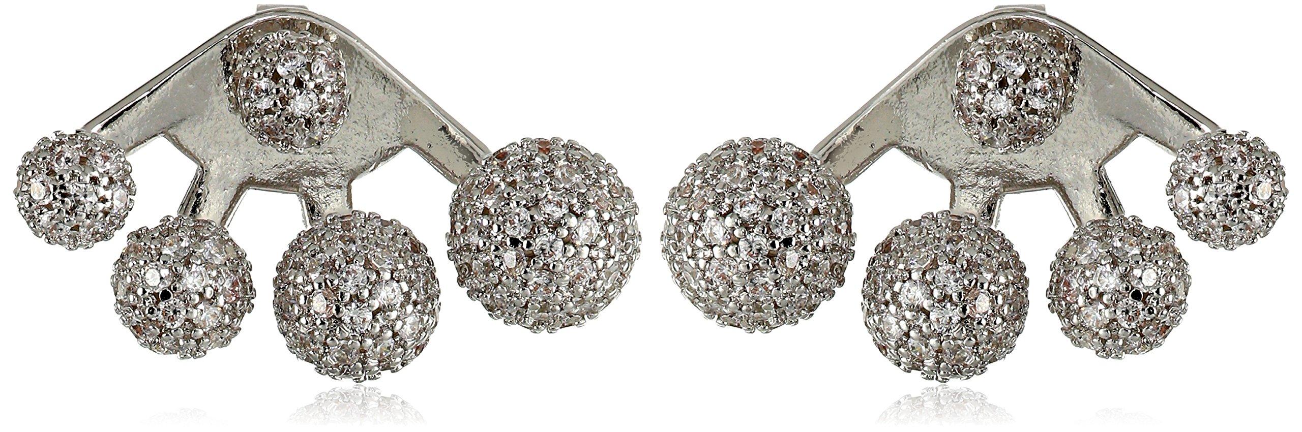 nOir Jewelry Multi-Sphere Rhodium Clear Earrings Jackets