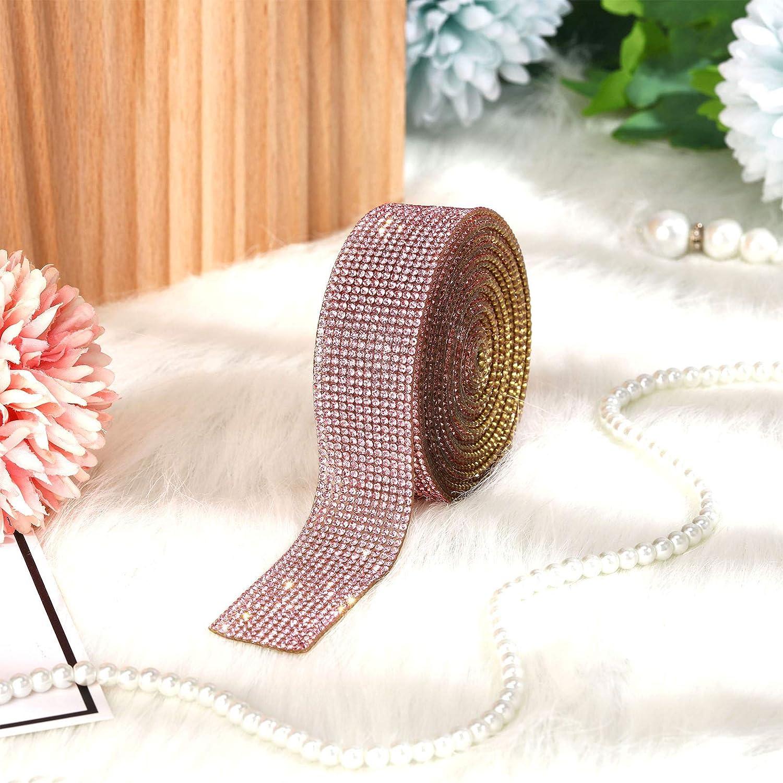 Nastro di Diamanti Strass Cristallo Hotfix Adesivo Decorativo Fai da Te con Strass da 2 mm per Artigianato Artistico Telefono Auto Eventi DIY Rosa, 3 Iarde