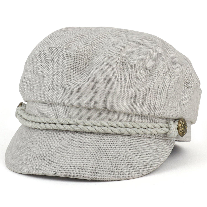 Trendy Apparel Shop Linen Cotton Newsboy Fisherman Rope Band Fiddler Cap -  Grey a75d3f0ecb0e