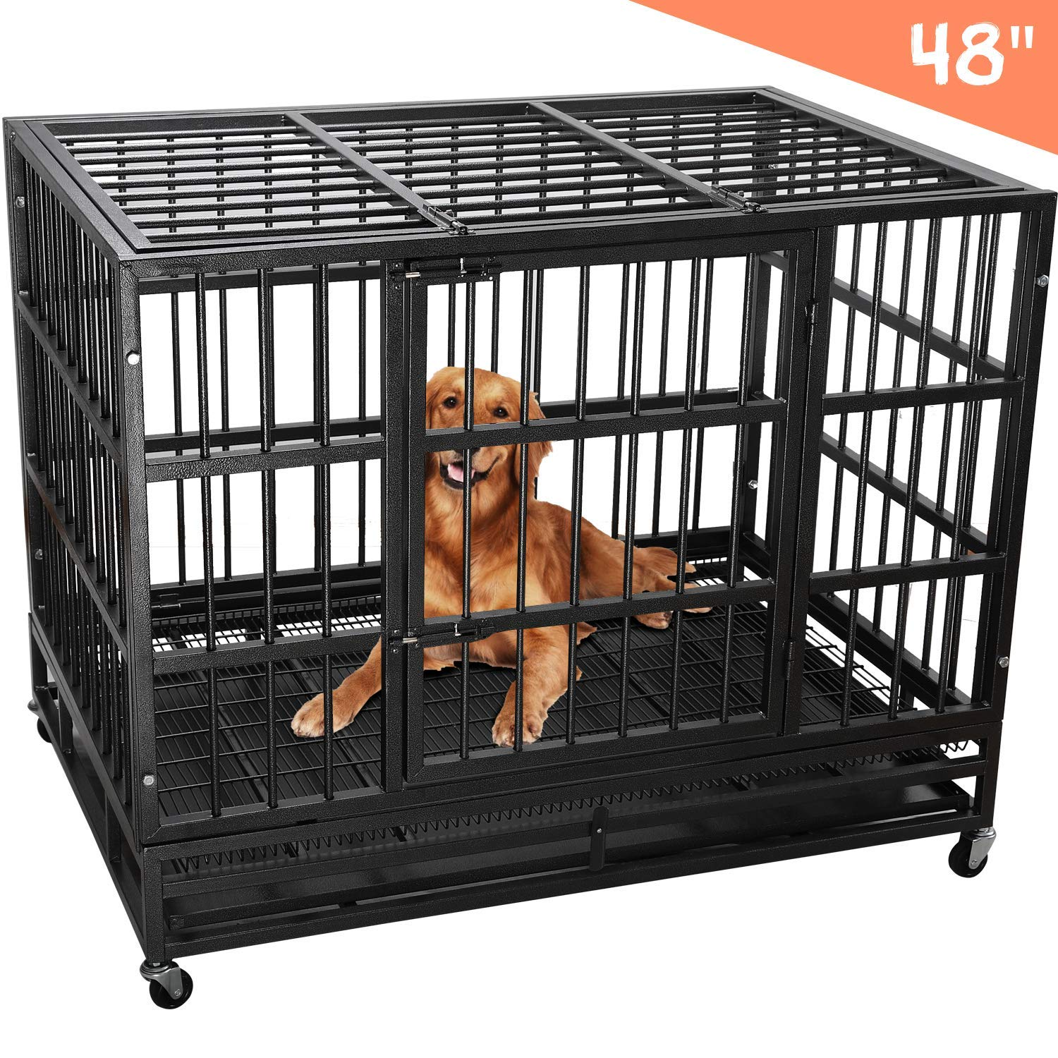 Heavy Duty Dog Cage Crate, Pet Kennel Strong Metal for Training Large Dog, Easy to Assemble, with Two Prevent Escape Lock, Lockable Wheels, Removable Tray for Indoor Outdoor(42in 48in) (48in, Black) by Royaledirect