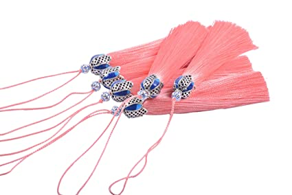 KONMAY 10PCS 8.5cm 3.4 Decorations Craft Tassels with Hollowed Antique Silver Caps and Hanging Loops for Jewelry Making Crafts Designs
