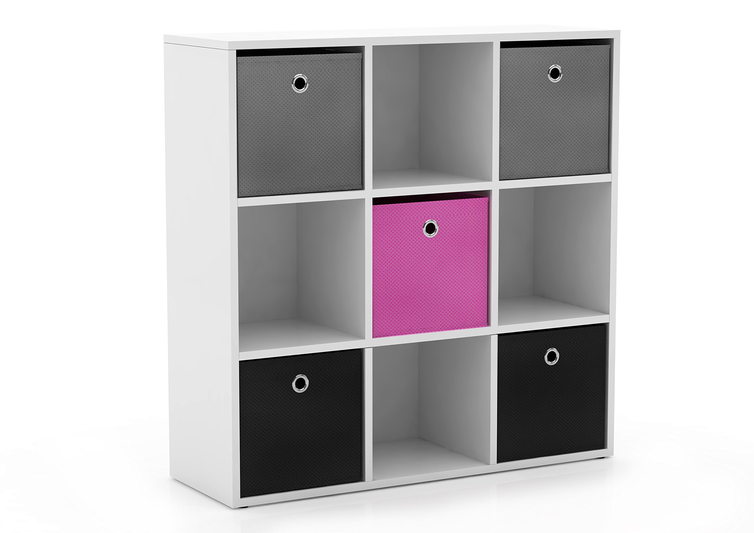Target Marketing Systems Utility Collection Contemporary Bin Bookcase with Five Storage Bins and Four Cubbies, Designed for Unisex Bedroom, Gray/Pink/Black/White by Target Marketing Systems