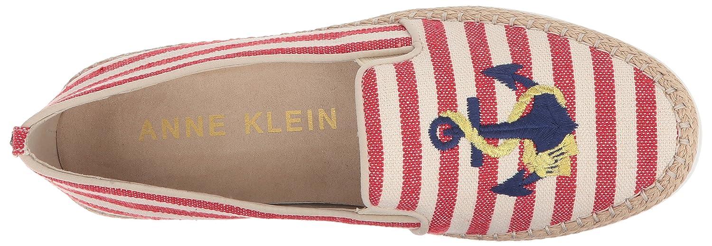 Anne Klein Women's Zarenna Slip Ballet Flat B078NHNV2Q 8 B(M) US|Red Natural Fabric