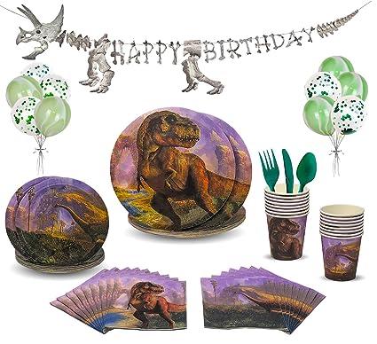 Amazon.com: Juego de accesorios para fiestas de dinosaurio ...