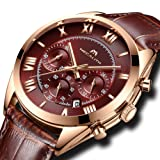 [メガリス]MEGALITH 腕時計 メンズ防水時計レザー クロノグラフウオッチブラッ 多針アナログクオーツ腕時計 日付表示 ラグジュアリー おしゃれ ビジネス カジュアル 男性腕時計