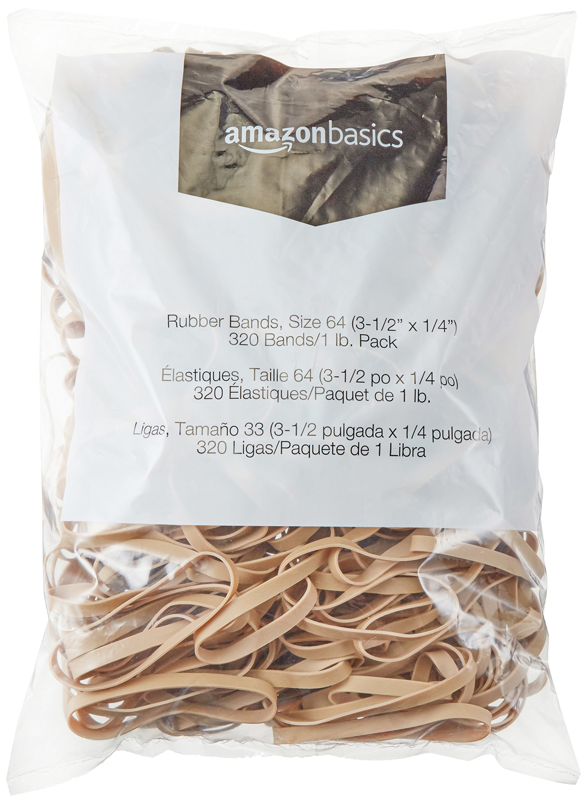 AmazonBasics Rubber Bands, Size 64 (3-1/2'' x 1/4''), 320 Bands/1 lb. Pack, 3-Pack